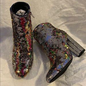 Shoes - Reversible sequin booties. SALE